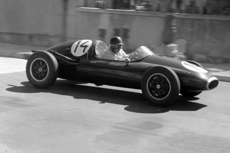 Jack Brabham bei seinem ersten Grand Prix in Monaco 1957 in einem Cooper-Climax
