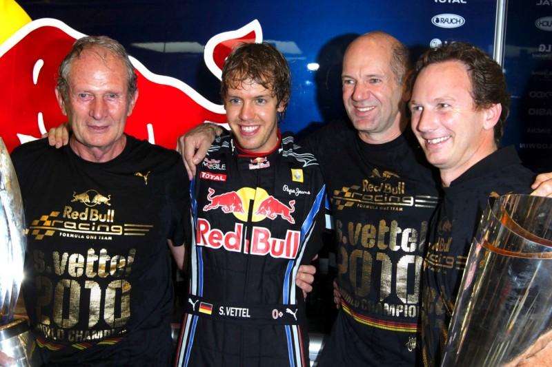 Helmut Marko, Sebastian Vettel, Adrian Newey, Christian Horner