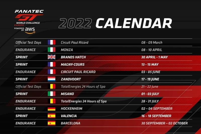 GTWC Europe 2022, Kalender
