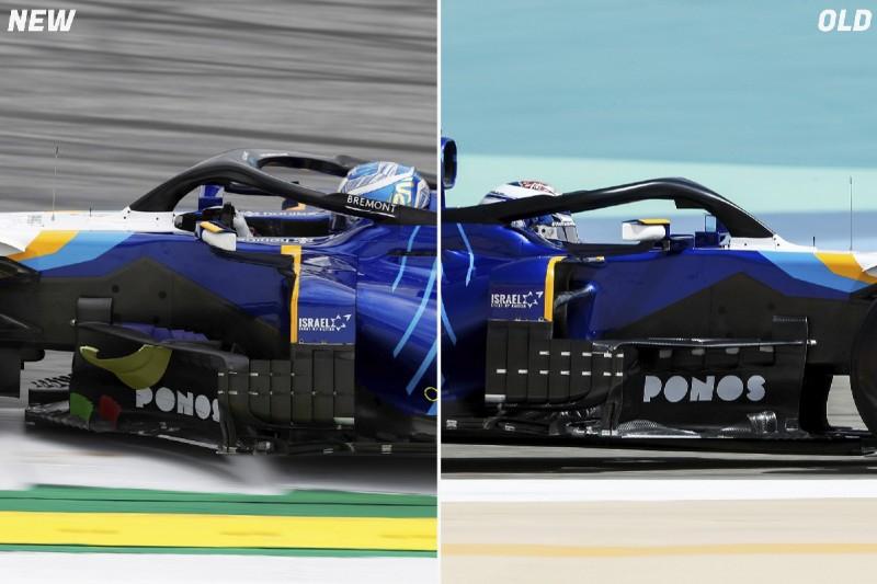 Neu (links) und alt (rechts): Windabweiser am Williams FW43B in der Formel-1-Saison 2021
