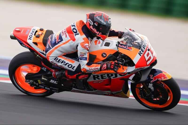 Marc Marquez mit seiner Honda beim MotoGP-Rennen in Misano 2021.
