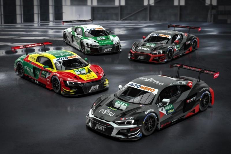 Die vier Audi R8 LMS des Abt-Teams von Kelvin van der Linde, Lucas di Grassi, Mike Rockenfeller und Sophia Flörsch.