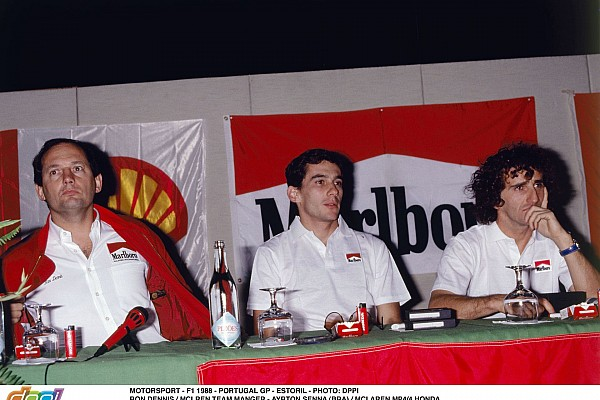 MOTORSPORT - F1 1988 - PORTUGAL GP - ESTORIL - PHOTO: DPPI RON DENNIS / MCLREN TEAM MANGER - AYRTON SENNA (BRA) / MCLAREN MP4/4 HONDA ALAIN PROST (FRA) / MCLAREN MP4/4 HONDA - AMBIANCE - PRESS CONFERENCE PORTRAIT