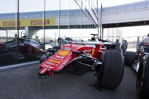 accident crash VETTEL Sebastian (ger) Ferrari SF16_H ambiance portrait during the 2016 Formula One World Championship, Russia Grand Prix from April 28 to May 1 2016 in Sotchi, Russia - Photo Frederic Le Floc'h / DPPI
