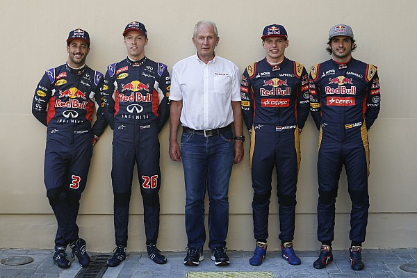 KVYAT daniil (rus) red bull renault rb11, RICCIARDO daniel (aus) red bull renault rb11, VERSTAPPEN max (ned) toro rosso str10 renault, SAINZ carlos jr (spa) toro rosso str10 renault and MARKO helmut (aut) red bull racing drivers manager ambiance portrait during the 2015 Formula One World Championship, Abu Dhabi Grand Prix from November 27th to 29th 2015 in Yas Marina. Photo Florent Gooden / DPPI