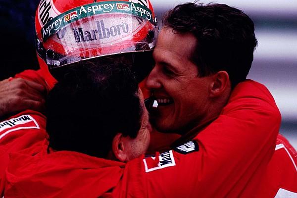 AUTO - F1 1997 - MONACO - PHOTO: DPPI MICHAEL SCHUMACHER EDDIE IRVINE FERRARI AMBIANCE FINISH LINE JEAN TODT
