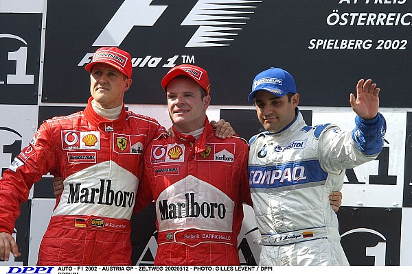 AUTO - F1 2002 - AUSTRIA GP - ZELTWEG 20020512 - PHOTO: GILLES LEVENT / DPPI PODIUM MICHAEL SCHUMACHER / FERRARI - RUBENS BARRICHELLO - AMBIANCE PORTRAIT JUAN PABLO MONTOYA / WILLIAMS BMW