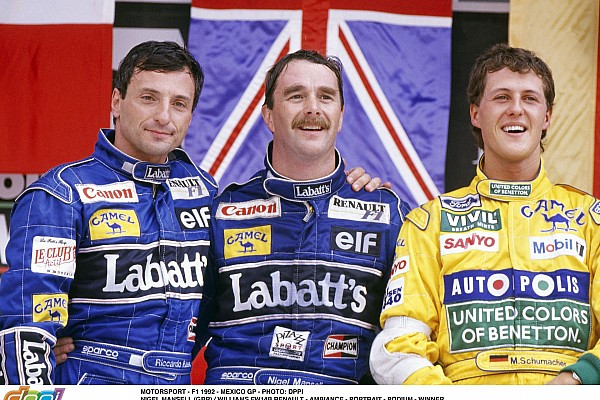 MOTORSPORT - F1 1992 - MEXICO GP - PHOTO: DPPI NIGEL MANSELL (GBR) / WILLIAMS FW14B RENAULT - AMBIANCE - PORTRAIT - PODIUM - WINNER RICCARDO PATRESE (ITA) / WILLIAMS RENAULT - MICHAEL SCHUMACHER (GER) / BENETTON FORD COSWORTH