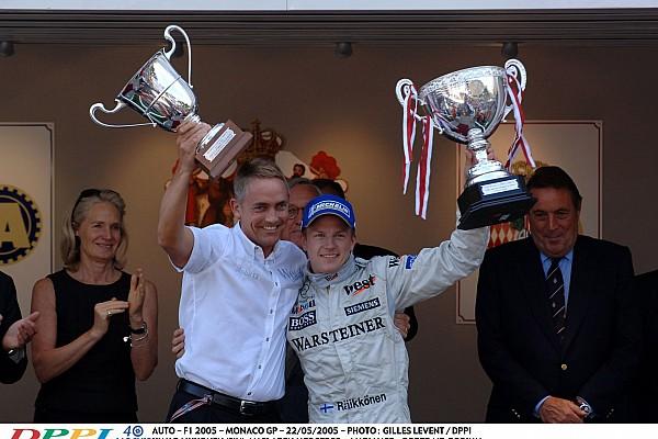 AUTO - F1 2005 - MONACO GP - 22/05/2005 - PHOTO : GILLES LEVENT / DPPI KIMI RAIKKONEN (FIN) / MCLAREN MERCEDES - AMBIANCE - PORTRAIT PODIUM DAVID WHITMARSH