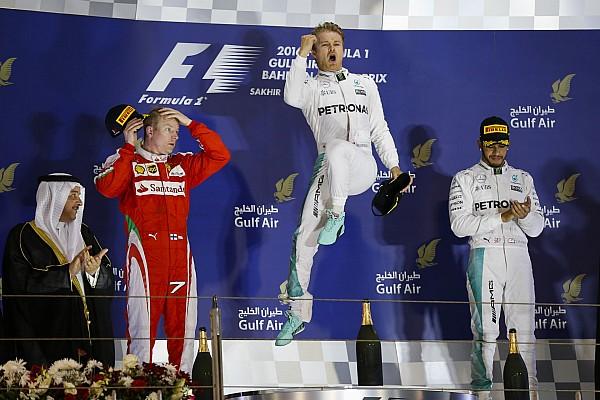 Podium. ROSBERG Nico (ger) Mercedes GP MGP W07, RAIKKONEN Kimi (fin) Ferrari SF16-H team scuderia Ferrari, HAMILTON Lewis (gbr) Mercedes GP MGP W07 ambiance portrait during 2016 Formula 1 FIA world championship, Bahrain Grand Prix, at Sakhir from April 1 to 3 - Photo Florent Gooden / DPPI