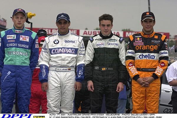 AUTO - F1 2001 - AUSTRALIAN GRAND-PRIX 010304 - MELBOURNE - PHOTO: GILLES LEVENT / DPPI N¡ 17 KIMI RAIKKONEN (FIN) / SAUBER - PETRONAS-N¡ 6 JUAN PABLO MONTOYA (COL) / WILLIAMS - BMW FERNANDO ALONSO (SPA) / EUROPEAN MINARDI-N¡ 15 ENRIQUE BERNOLDI (BRA) / ARROWS - ASIATECH