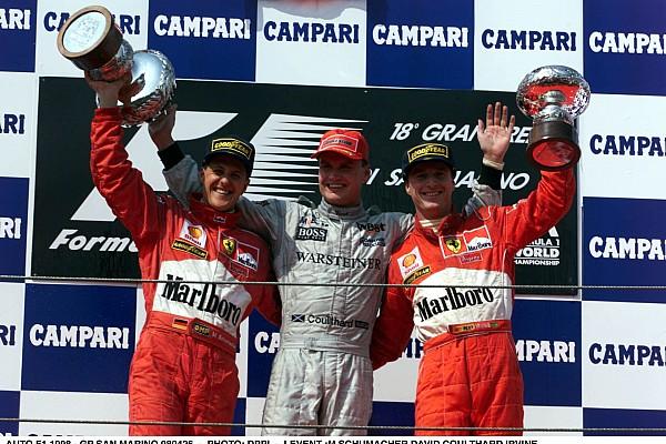 AUTO - F1 1998 - SAN MARINO - IMOLA 980426 - PHOTO: DPPI DAVID COULTHARD / MCLAREN MERCEDES - PODIUM MICHAEL SCHUMACHER / FERRARI EDDIE IRVINE / FERRARI