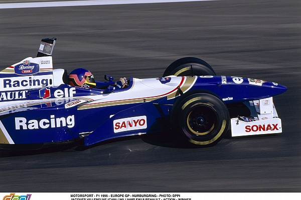 MOTORSPORT - F1 1996 - EUROPE GP - NURBURGRING - PHOTO: DPPI JACQUES VILLENEUVE (CAN) / WILLIAMS FW18 RENAULT - ACTION - WINNER
