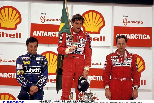 AUTO - F1 1991 - BRAZIL GP - SAO PAULO - PHOTO: GILLES LEVENT / DPPI AYRTON SENNA (BRA) / MCLAREN HONDA - RICCARDO PATRESE (ITA)/ WILLIAMS RENAULT - GERHARD BERGER (AUT) / MCLAREN HONDA - PODIUM - AMBIANCE - PORTRAIT