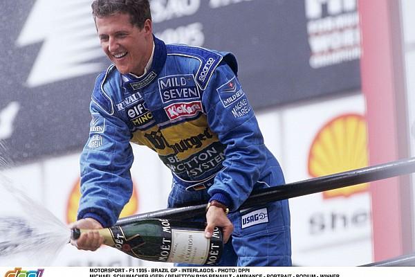 MOTORSPORT - F1 1995 - BRAZIL GP - INTERLAGOS - PHOTO: DPPI MICHAEL SCHUMACHER (GER) / BENETTON B195 RENAULT - AMBIANCE - PORTRAIT - PODIUM - WINNER CHAMPAGNE
