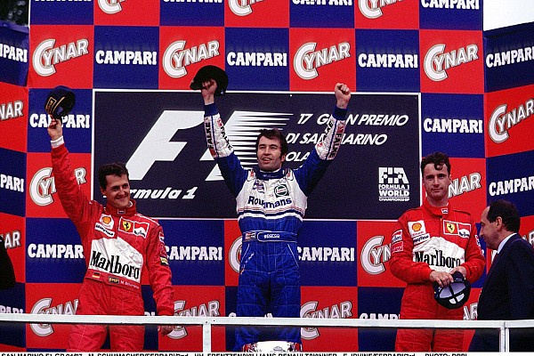 AUTO - F1 1997 - SAN MARINO - PHOTO: DPPI HEINZ HARALD FRENTZEN WILLIAMS RENAULT PODIUM MICHAEL SCHUMACHER EDDIE IRVINE FERRARI
