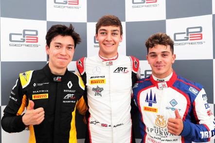 Jack Aitken, George Russell i Dorian Boccolacci | Fot. GP3