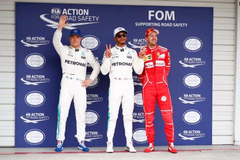 Valtteri Bottas, Lewis Hamilton i Sebastian Vettel   Fot. Mercedes