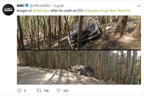 Wypadek Sébastiena Ogiera | Fot. WRC