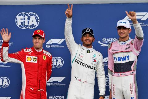 Sebastian Vettel, Lewis Hamilton i Esteban Ocon | Fot. XPB