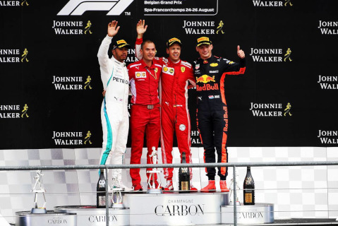 Podium GP Belgii | Fot. XPB