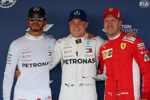 Lewis Hamilton, Valtteri Bottas i Sebastian Vettel   Fot. XPB