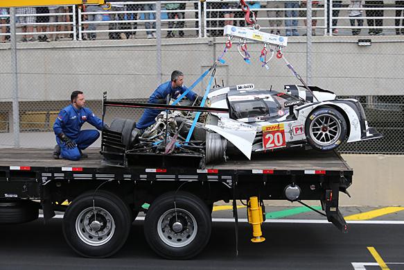 Mark Webber, Porsche, Interlagos WEC crash 2014
