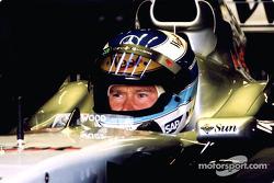 Mika Hakkinen in the garage