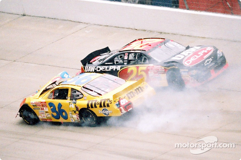 Almost as soon as the race started, Jerry Nadeau and Ken Schrader get tangled up and cause the first caution of the race