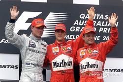 David Coulthard, Michael Schumacher and Rubens Barrichello