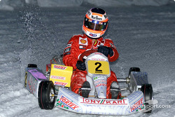 Rubens Barrichello driving in the kart exibition