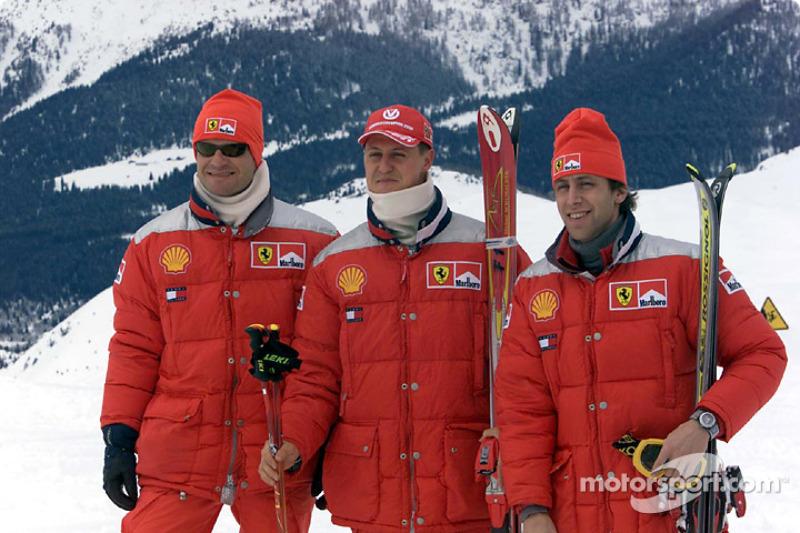 Rubens Barrichello, Michael Schumacher and Luca Badoer