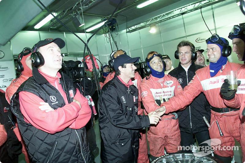 Happy birthday: Audi driver Rinaldo Capello celebrates his 37th birthday at midnight in the Audi pits