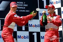 Michael Schumacher and Rubens Barrichello on the podium