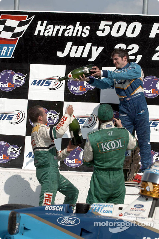 The podium: Patrick Carpentier having fun with Michel Jourdain Jr. and Dario Franchitti