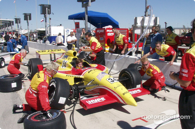Practicing pit stops right before the race