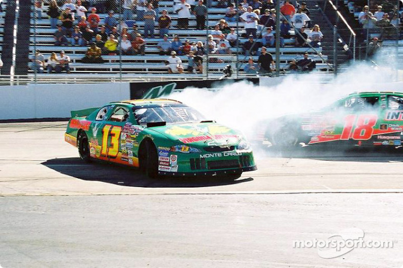 Bobby Labonte trying to avoid Hermie Sadler