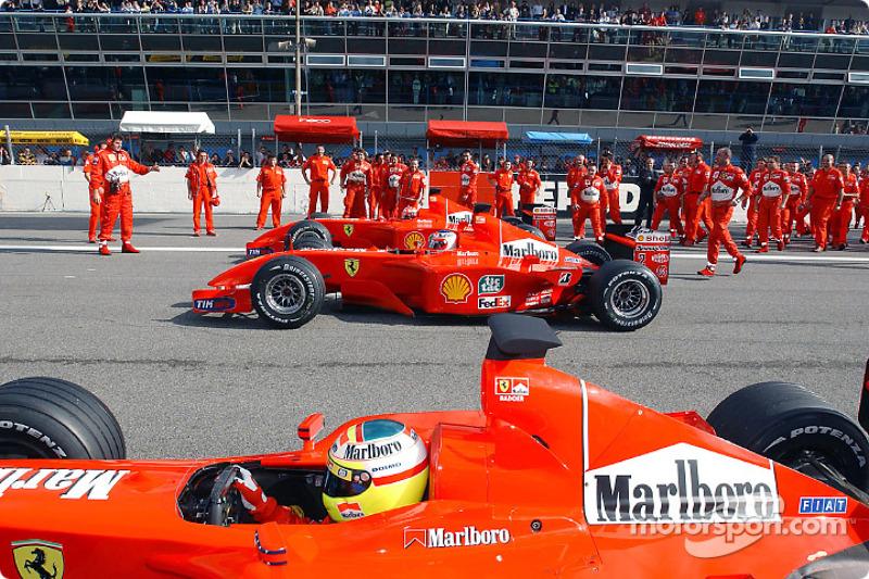 Luca Badoer, Rubens Barrichello and Michael Schumacher