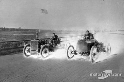Henry Ford never raced again after his 1901 victory, but he sometimes drove the race cars; he drove 999 (left) in a 1903 demonstration run with Harry Harkness in a Simplex, at the Grosse Pointe track