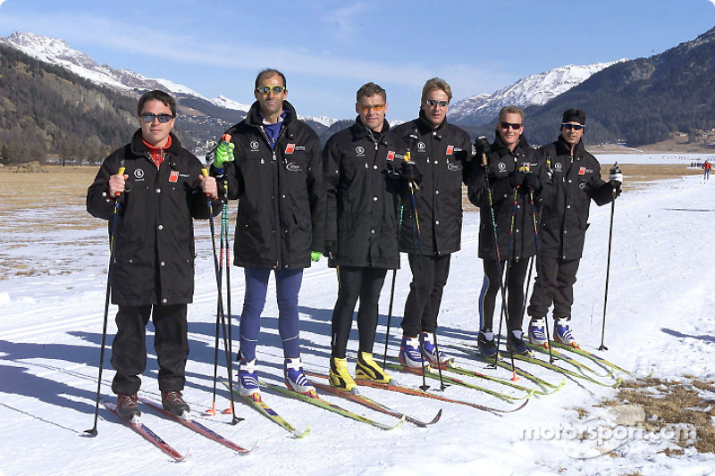 The Audi works drivers Christian Pescatori, Emanuele Pirro, Tom Kristensen, Frank Biela, Johnny Herbert and Rinaldo Capello during cross country skiing
