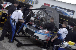 The Viagra Ford Taurus of Mark Martin undergoes an engine change in the Daytona garage area