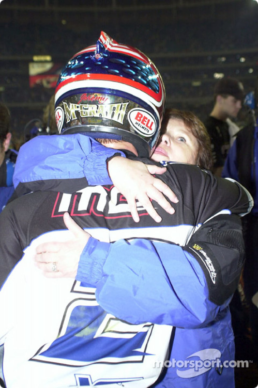 McGrath gets a kiss from his mom