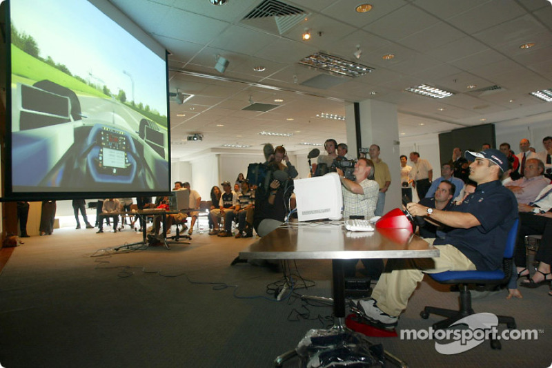 Compaq driver day: Juan Pablo Montoya tries out a racing simulator