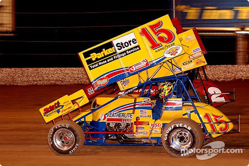 Donny Schatz of Fargo, North Dakota, driver of the Parker Stores sprint car was the first of many World of Outlaws drivers to  get up-ended on opening night of the Silver State Shootout