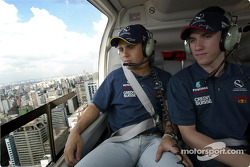 Helicopter ride for Felipe Massa and Nick Heidfeld