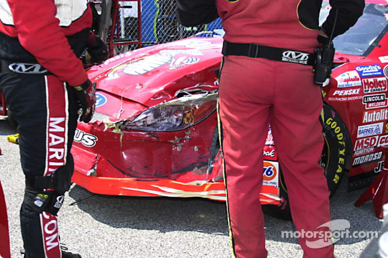 Damage on Ashton Lewis' car