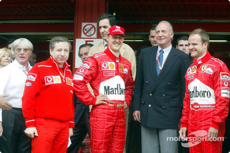 Bernie Ecclestone, Jean Todt, Michael Schumacher, King Juan Carlos and Rubens Barrichello