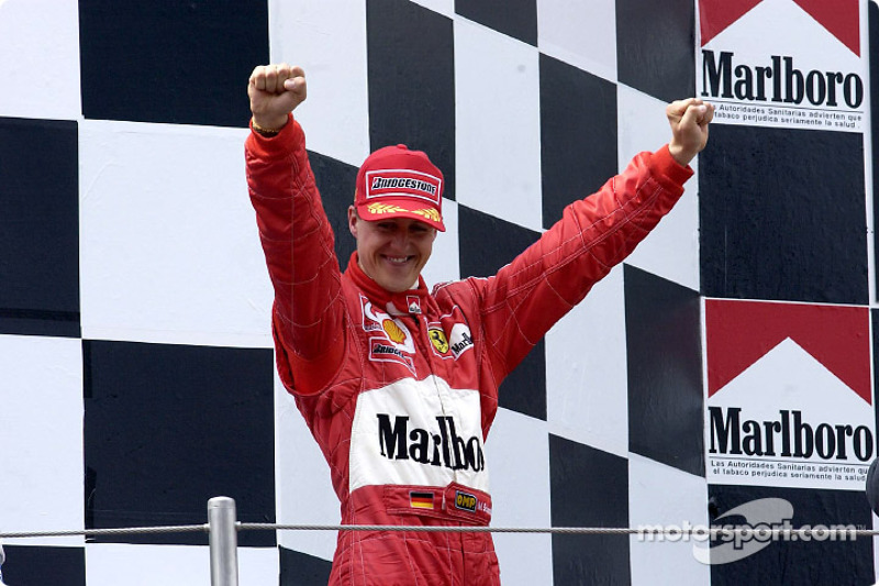 Race winner Michael Schumacher on the podium