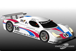 Brumos Motor Cars will return to professional competition in 2003 with a Fabcar-designed, Porsche-powered Daytona Prototype coupe. Shown is a rendering of Brumos' Daytona Prototype coupe.