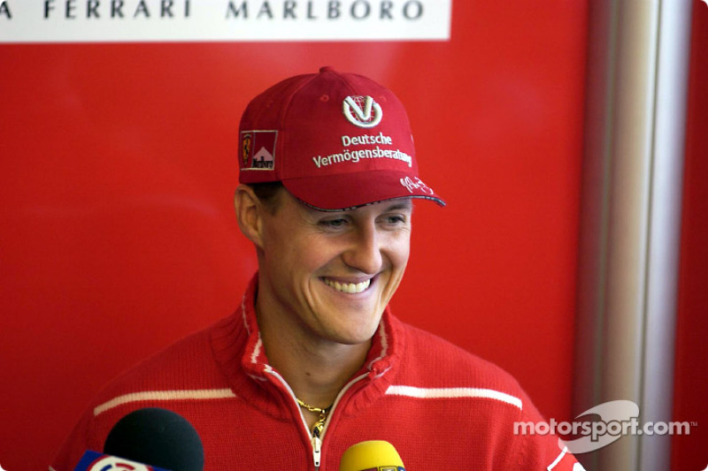 Press conference announcing 2003-2004 contract with Barrichello: Michael Schumacher
